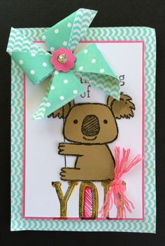 Kind Koala stamp set by Stampin' Up makes a cute holder for this spinning pinwheel.  ATC, Artist Trading Card by Beverly Stewart.