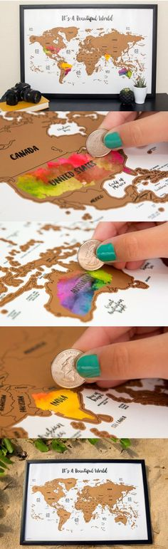 Scratch your travels with this gorgeous original watercolor world map. Bright, bold & interactive wall art that will fit any 12x18 size frame. Use a coin to scratch off the foil to reveal the bright colors of the countries you've visited http://seattlestravelshop.com/shop/its-a-beautiful-world-scratch-map/