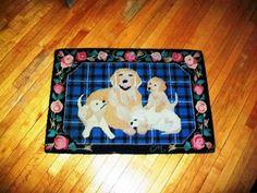 Vintage Dog Hooked Rug Golden Retriever by RedRiverAntiques, $135.00