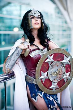 Wonder Woman ~ Cos Play. If I was gonna be an Amazon warrior princess I'd say that the gladiator look is awesome for her