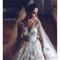 2016 New Illusion Long Sleeves Lace Ball Gown Wedding Dresses Tulle Applique Beaded Counrt Train Bridal Gowns Guest Wedding Dresses Long Evening Gowns From Enjoyweddinglife, $211.52| Dhgate.Com