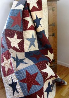 Patriotic Quilt - Red, White and Blue - Americana Wall Hanging. $325.00, via Etsy.