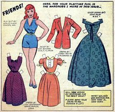(via Lady, That's My Skull: Fan-Designed Fashions For Patsy Walker Paper Doll) Paper Doll feature from Patsy and Hedy (Mar Newspaper Paper, Old Paper, Paper Art, Comic Book Paper, Comic Books, Millie The Model, Romance Comics, Art Folder, Christmas Paper Crafts
