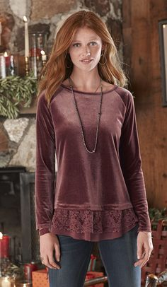 Velvet Grace Top - Our long-sleeve velvet top is all dressed up with lace trim detail at the hem.