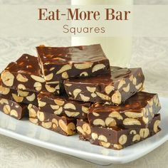 Eat-More Bar Squares - an easy candy confection! - Eat-More Bar Squares. An easy candy confection! These chewy and crunchy candy squares are the perfect marriage of peanut and chocolate flavours. Great for gift giving at the Holidays too. Source by Candy Recipes, Sweet Recipes, Baking Recipes, Holiday Recipes, Cookie Recipes, Holiday Treats, Christmas Snacks, Rock Recipes, Holiday Appetizers