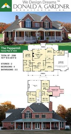 House Plans - The Peppermill - Home Plan 1034 Bungalow House Plans, Craftsman House Plans, New House Plans, Dream House Plans, House Floor Plans, Country Style House Plans, Country Homes, French Architecture, House Blueprints