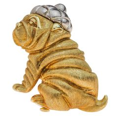 Henry Dunay Gold Platinum Sharpei Dog Brooch | From a unique collection of vintage brooches at https://www.1stdibs.com/jewelry/brooches/brooches/