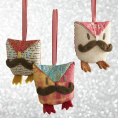Mustache Owl Ornaments  | Crate and Barrel