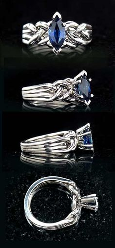 Crystal Realm: Hand-woven, Marquise 3/4CT blue sapphire, four-band, puzzle engagement ring: just-over-medium-weight with open weave. Customizable with your choice of colored gemstone or diamond.