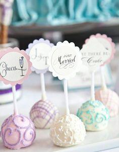 Cake pop designs- white ones-mrs. Blue ones mr.