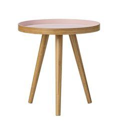 Mesa auxiliar redonda en madera con sobremesa color rosa