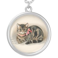 Tabby Cat Pendant - Cute Vintage Kitty Cat Necklace Jewelry