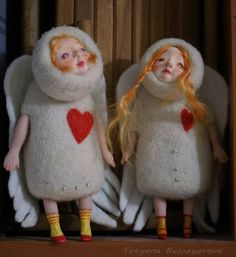 Little Angels. Growth of about 18 centimeters (7.09 inches). Made of natural wool. The technique of dry felting. The face of LaJolla. Arms and legs of Livingdoll.