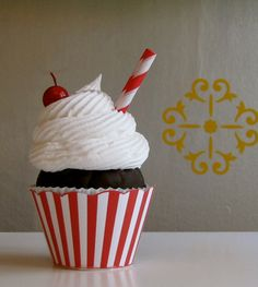 Fake Cupcake Retro Inspired Ice Cream Social Collection Candy Cane Red and White Stripe Edition TOO CUTE 12 Legs Original Design and Concept