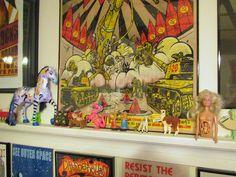 Weird Toys on Ledge ( Amanda Palmer pony, vintage ramp walkers, llamas, pregnant Barbie ) by GennieGoose's Page, via Flickr