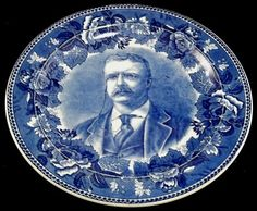 Wedgewood Dark Blue/ White Teddy Roosevelt Commemorative Plate. (c.1905).