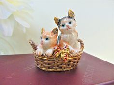 Kittens in Basket Crystal and Enamel Nobility Trinket Pot Keepsake Accessories