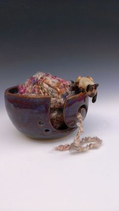 Siamese Kitty Stoneware Yarn Bowl in Huckleberry- Made to Order