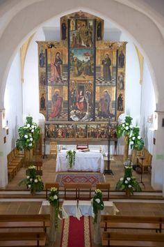 Decoración iglesia hortensias, rosas #eivissgarden