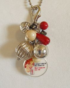 Diet Coke Retro Lady Humorous saying Chunky Beads Changeable Cluster Charm or Keychain