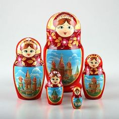 Red Russian Churches Nesting Doll