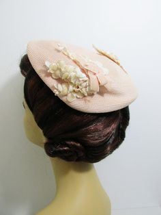 Vintage Hat Pink Straw with Flocked Flowers by FairSails on Etsy, $17.00