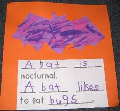 Fill in the blank sentence frame ideas to use for struggling writers- Nocturnal Animal research unit.