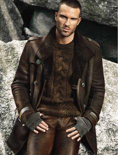 Lammy coat and leather pants