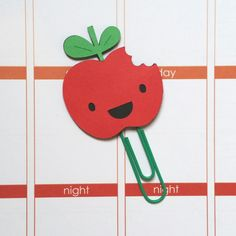 Apple Paper Clip // Planner Clip // Bookmark // by CuteByDesignCo