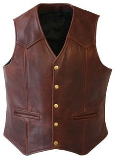 Choosing leather vest for men only takes a few considerations to get the best piece. Here, you'll know where to find the finest black leather vest for men. Studded Leather Jacket, Biker Leather, Leather Hats, Leather Men, Brown Leather, Leather Vest Outfit, Cowhide Leather, Vest Outfits, Western Wear