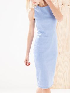 Stradivarius denim midi dress