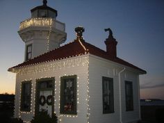 Mukilteo, WA lighthouse at dusk during the Holiday season