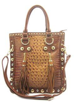 Brown Leather Handbag – Studded Croc Tote or Shoulder Bag with Tassels – Brown Croco
