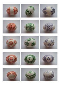 kraslice a svíčky: kraslice slepičí Egg Crafts, Diy And Crafts, Egg Art, Egg Decorating, Easter Eggs, Projects To Try, Easter Stuff, Handmade, Patterns