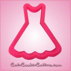 Our Scalloped Dresscookie cuttersare just over 3-1/4 inches tall, 3-1/4 inches wide, and aremade of pinkplastic. Cleaning instructions: hand wash, towel dry