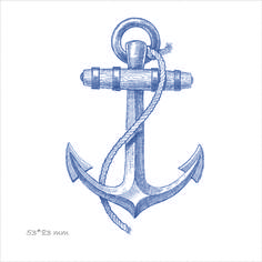 сувенир из фетра с рисунком на морскую тематику, якорь, море, креативные подарки, оригинальные подарки