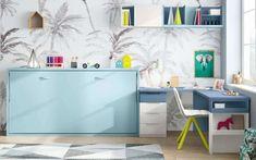 Camas Abatibles, la mejor opción para habitaciones juveniles pequeñas Lit Simple, Folding Beds, Study Areas, Space Interiors, Interior Decorating, Interior Design, Office Desk, Corner Desk, 3 D