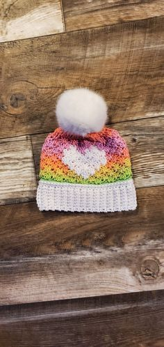 Crochet pattern by Made with Bernat Super Value and Red Heart Super Saver Stripe yarn Knit Crochet, Crochet Hats, Super Saver, Crochet Patterns, Beanie, Stripes, Heart, Red, Knitting Hats
