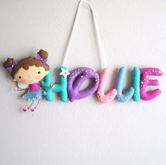 Little fairy star customized felt name room by UnBonDiaHandmade
