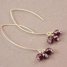Garnet Earrings  Gemstone Earrings January Birthstone by ZionShore
