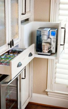 Coffee area idea inside kitchen cabinets #kitchenideas #diyroomdecor #homedecorideas #diyhomedecor #farmhousedecor #gettingorganized