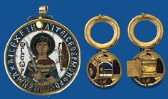 Byzantine Reliquary Depicting St. George. The Pendant Opening to Reveal Four Relic Compartments and a Hinged Panel. The Interior Panel Decorated by an Enamel representation of St. Demetrius in the Tomb Concealing a recumbent Golden figure British Museum