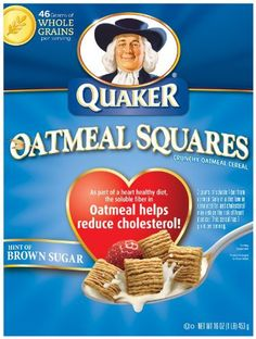 Quaker Oatmeal Squares, Crunchy Oatmeal Cereal with a Hint of Brown Sugar, 16-Ounce Boxes (Pack of 6)