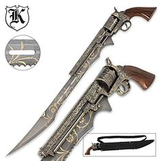 Otherworld Steampunk Gun Blade Sword With Nylon Shoulder Sheath -Otherworld Steampunk Gun Blade Sword With Nylon Shoulder Sheath. A true piece of art, the Otherworld Steampunk Gun Blade sword is a must-have for your collection or costume. Steampunk Sword, Arma Steampunk, Fantasy Sword, Fantasy Weapons, Katana Samurai, Cool Swords, Weapon Concept Art, Wow Art, Weapons Guns