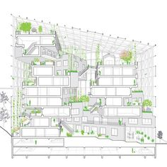 We're happy to share our visions for Paris' 'Inventons la Metropole', a competition to reinvent 55 of the city's districts. Here, our proposal for Issy les Moulineaux. Green balconies hug the atrium to create a beautiful and dynamic centre space. Green Architecture, Architecture Drawings, Concept Architecture, Landscape Architecture, Architecture Design, Atrium Design, Balcony Design, Paris, Planer Layout