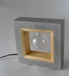 Inside Out - Large Concrete & Wood Table Lamp Table Beton, Table Lamp Wood, Wooden Lamp, Concrete Light, Concrete Wood, Concrete Projects, Lampshade Chandelier, Wood Chandelier, Cement Art