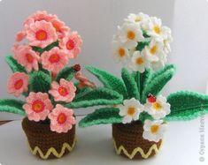 Vaso de flores de crochê