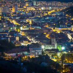Brasov by night Carpathian Mountains, Old Town, Romania, City Photo, Medieval, Scenery, Old Things, The Incredibles, History