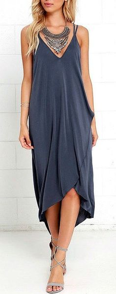 #spring #outfits Black Wrap Dress + Necklace + Grey Sandals
