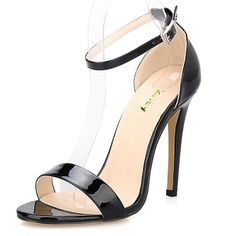 ZriEyTM Womens Ladies Strappy High Heel Sandals Ankle Strap Cuff Peep Toe Shoes Black size 85 >>> Continue to the product at the image link. Sexy High Heels, High Heels Stilettos, Business Shoes, Peep Toe Shoes, Buy Shoes, Ankle Straps, Black Shoes, Open Toe, Patent Leather